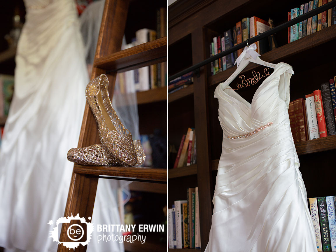 Clayshire-Castle-library-wedding-photographer-jelly-shoes-gold-on-ladder-bride-dress-custom-wire.jpg