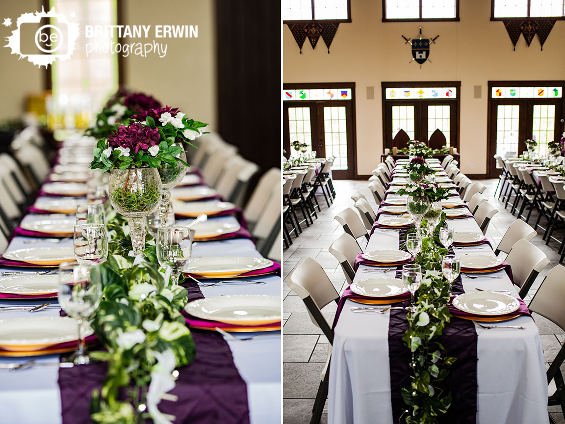 Clayshire-Castle-wedding-reception-photographer-long-banquet-table-purple-runner-flower-centerpiece.jpg