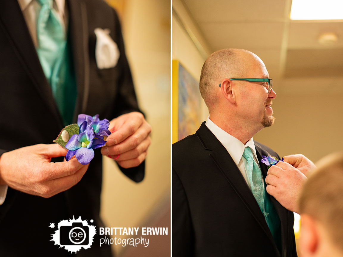 Indiana-Art-Sanctuary-groom-getting-ready-boutonniere-beach-theme-with-shells.jpg