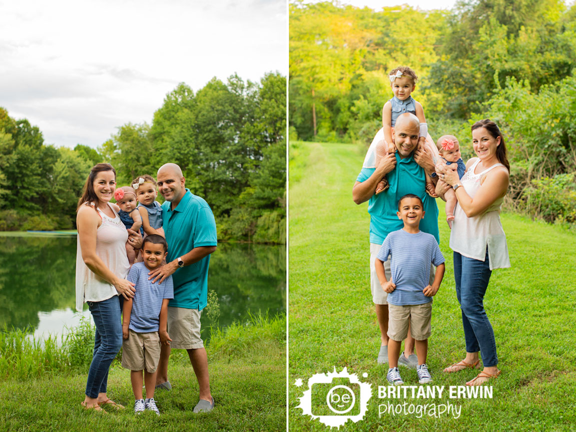 Indianapolis-family-portrait-photographer-group-outdoor-pond-brother-sister-mother-father.jpg