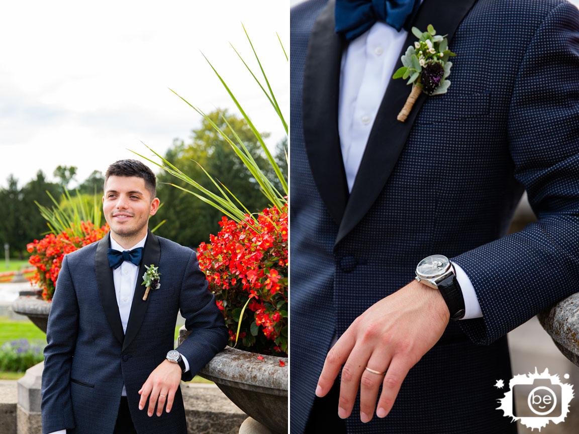 Garfield-Park-sunken-gardens-portrait-wedding-photographer-groom-bowtie-watch-with-flowers.jpg