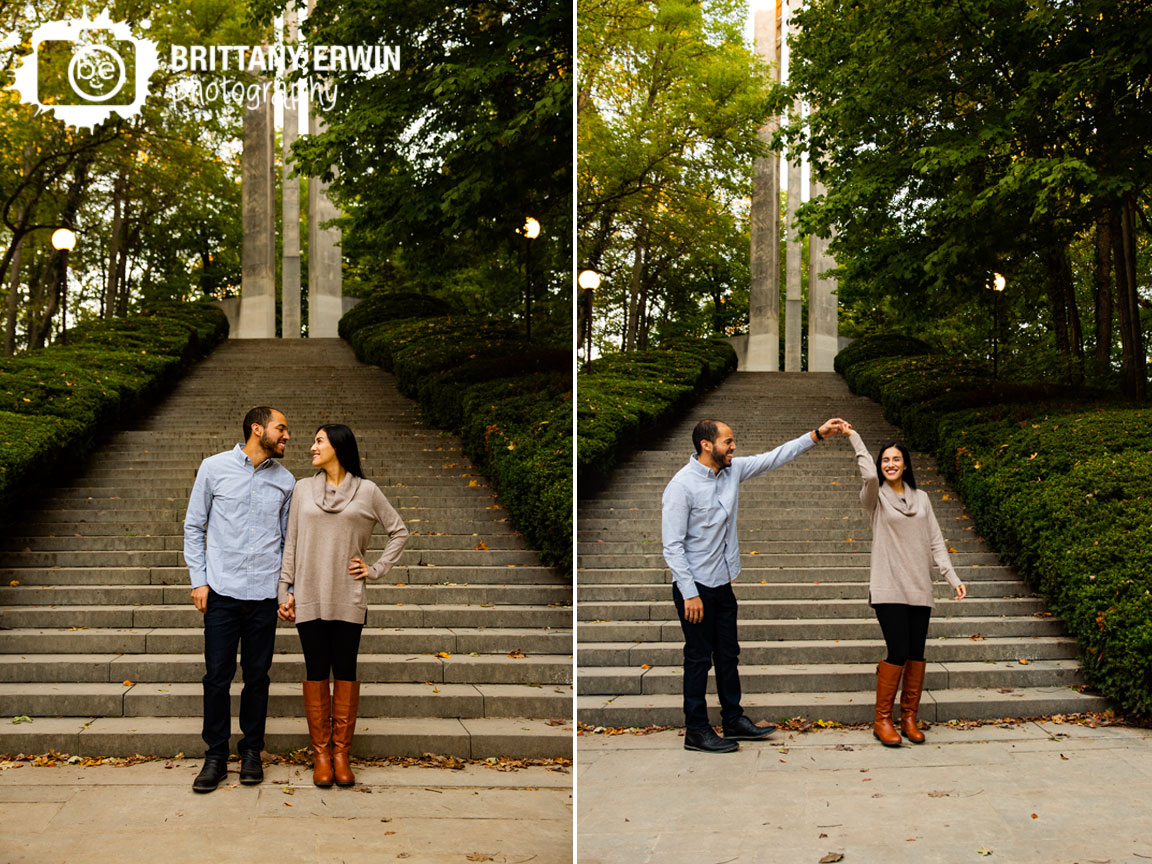 Indianapolis-fall-portrait-photographer-engagement-couple-at-stairs-butler-university-holcomb-garden.jpg