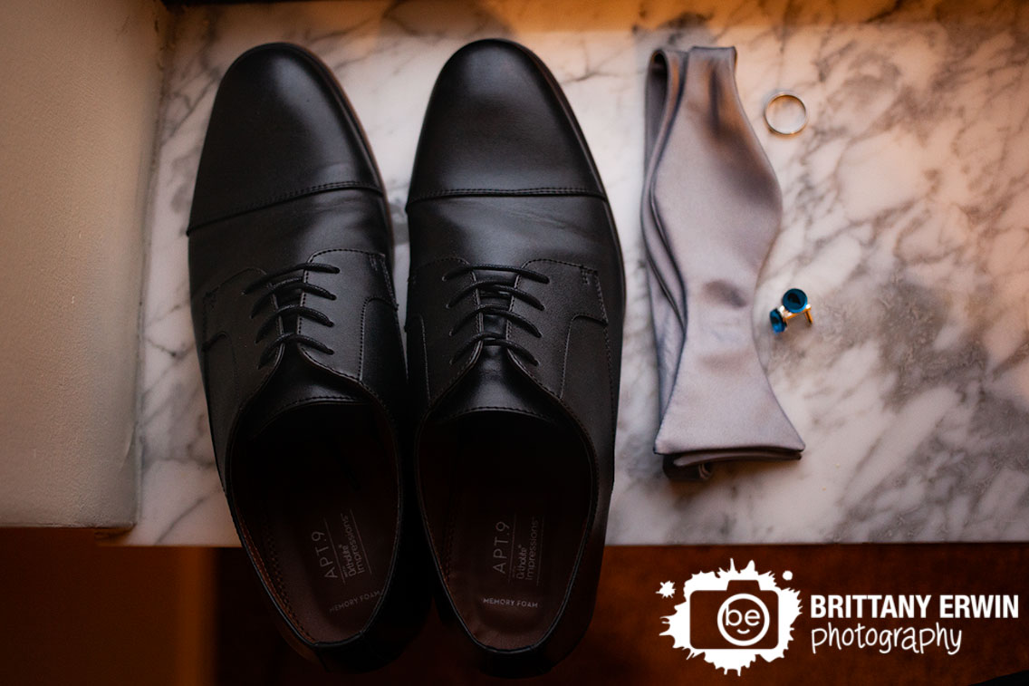 Indianapolis-wedding-photographer-groom-details-shoes-bow-tie-cuff-links-water-icon-magic-the-gathering.jpg