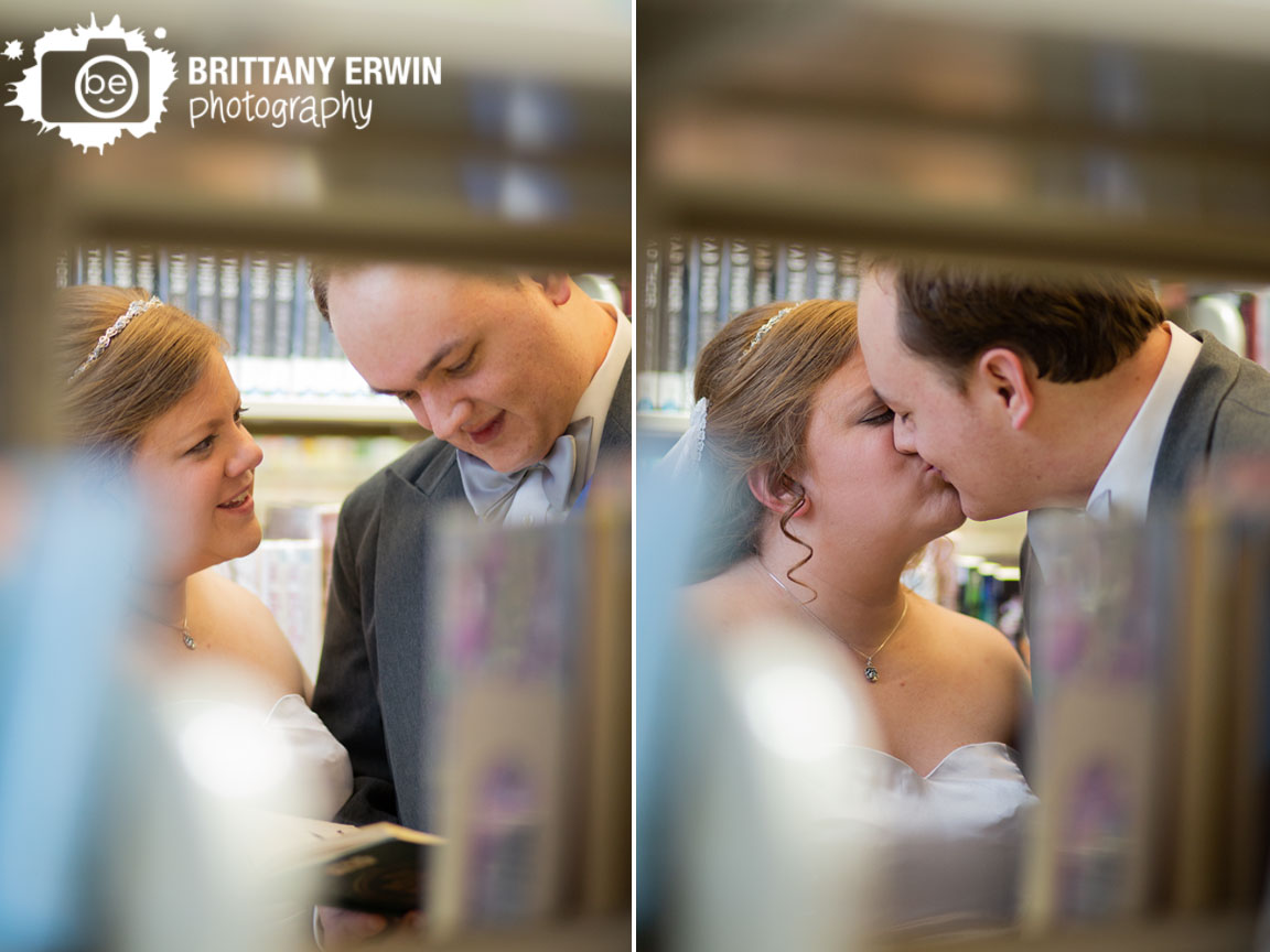 Indianapolis-wedding-photographer-central-library-bridal-portraits-couple-read-through-bookshelves.jpg