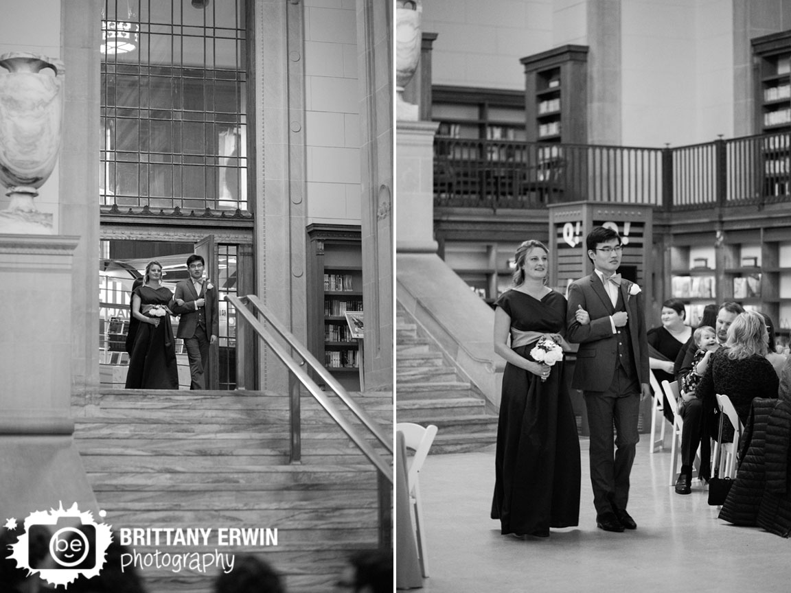 Indianapolis-central-library-old-wing-reading-room-wedding-ceremony-photographer-maid-of-honor-and-best-man-walk-down-aisle.jpg