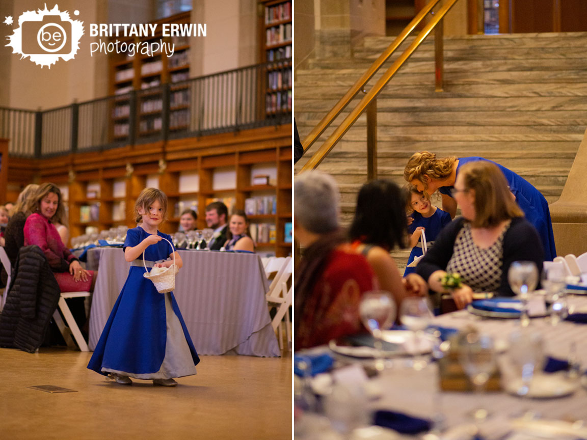 Indianapolis-wedding-photographer-central-library-flower-girl-walking-down-aisle-hug-maid-of-honor-mom.jpg