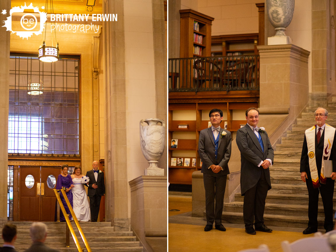 Indianapolis-central-library-photographer-wedding-ceremony-bride-walking-down-aisle-groom-reaction.jpg