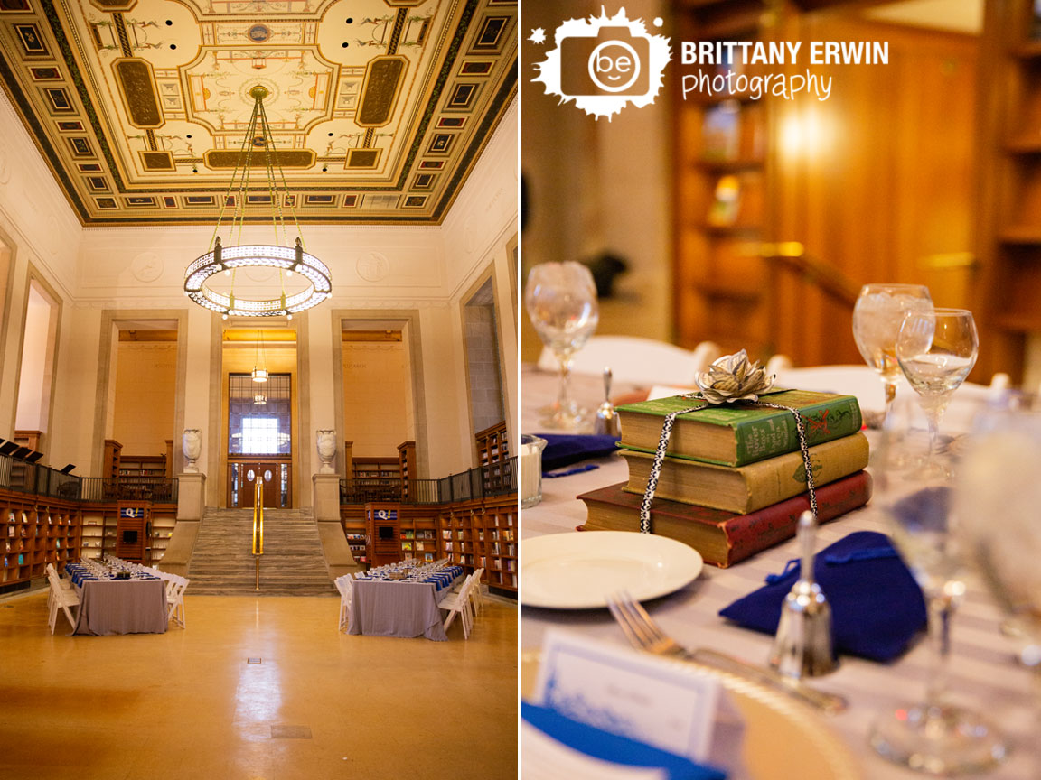 Indianapolis-wedding-photographer-central-library-old-wing-historic-books-centerpiece-page-flower.jpg