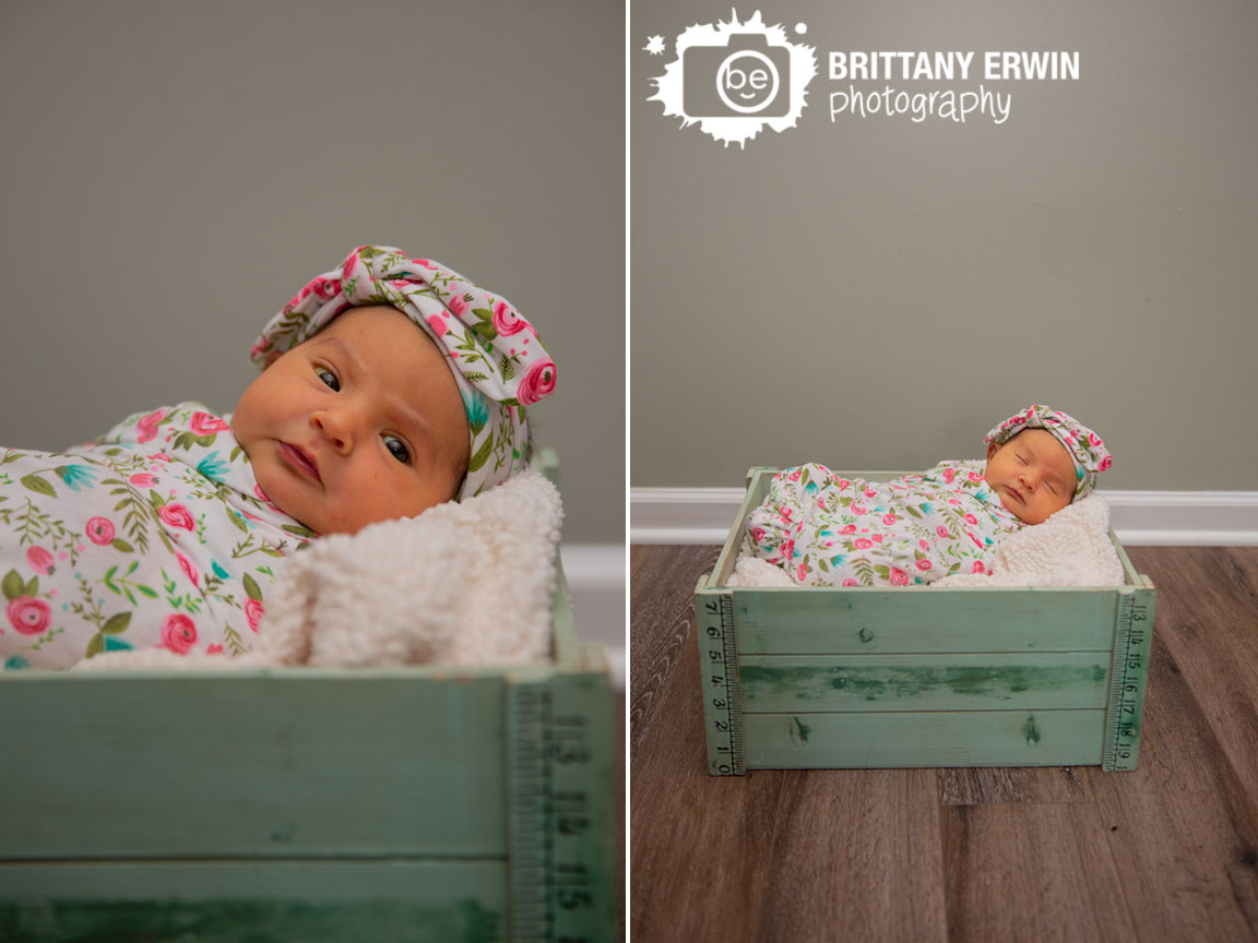 Indianapolis-photographer-newborn-lifestyle-portrait-baby-girl-floral-wrap-in-crate-sleeping.jpg