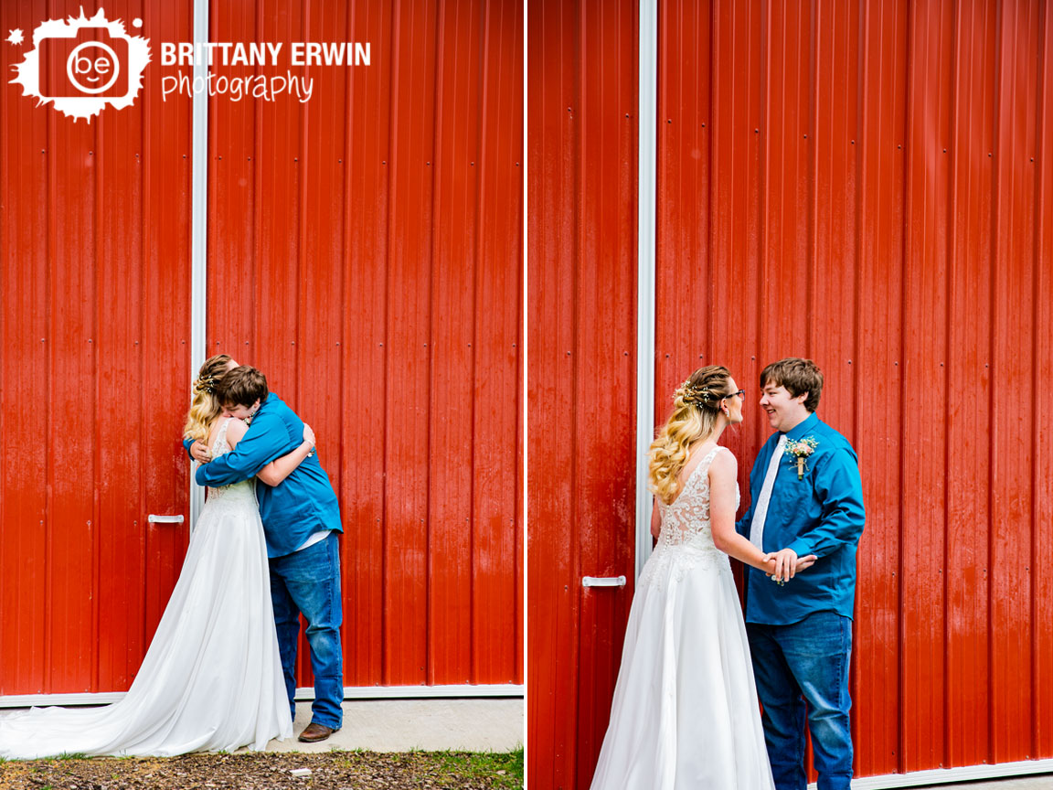 Indiana-wedding-photographer-couple-first-look-red-barn-rustic-gatherings-groom-reaction-hug.jpg