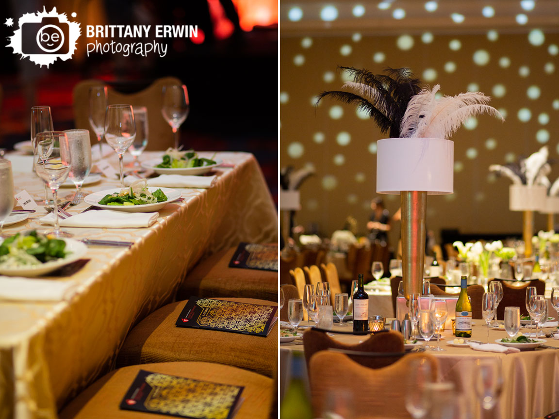 Indianapolis-event-photography-dinner-place-setting-salad-gold-table-cloth-JW-Marriott-ball-centerpiece-feather.jpg