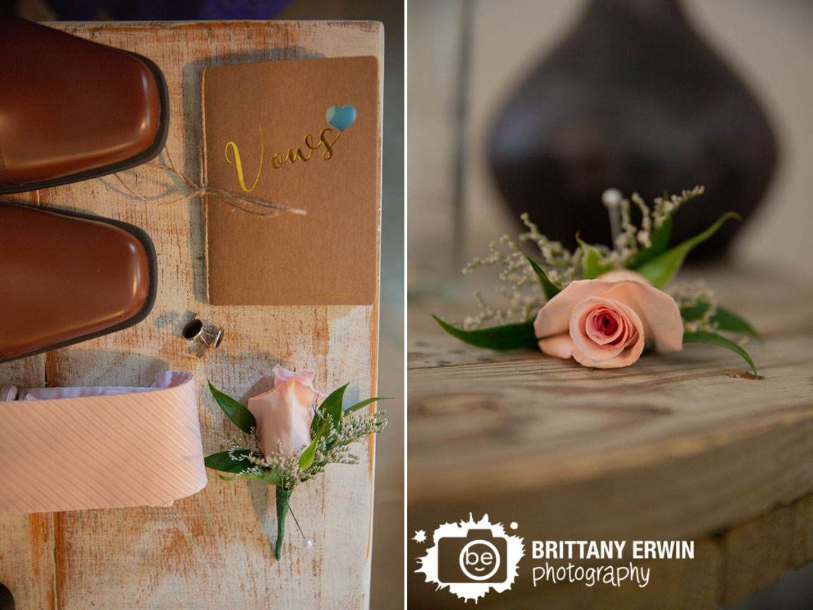 groom-details-vow-book-heart-cutout-brown-shoes-pink-rose-boutonniere.jpg