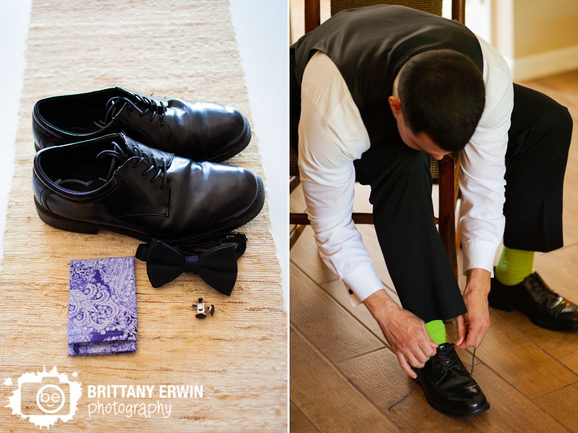 groom-getting-ready-yellow-socks-bow-tie-shoes-paisley-pocket-square.jpg
