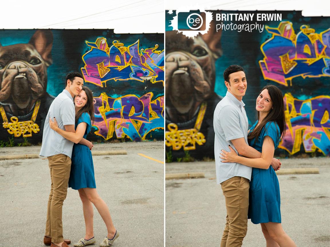 Mural-dog-Fountain-Square-engagement-portrait-couple.jpg