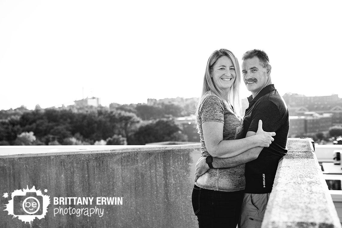 Lafayette-Indiana-parking-garage-rooftop-treeline-couple-portrait.jpg
