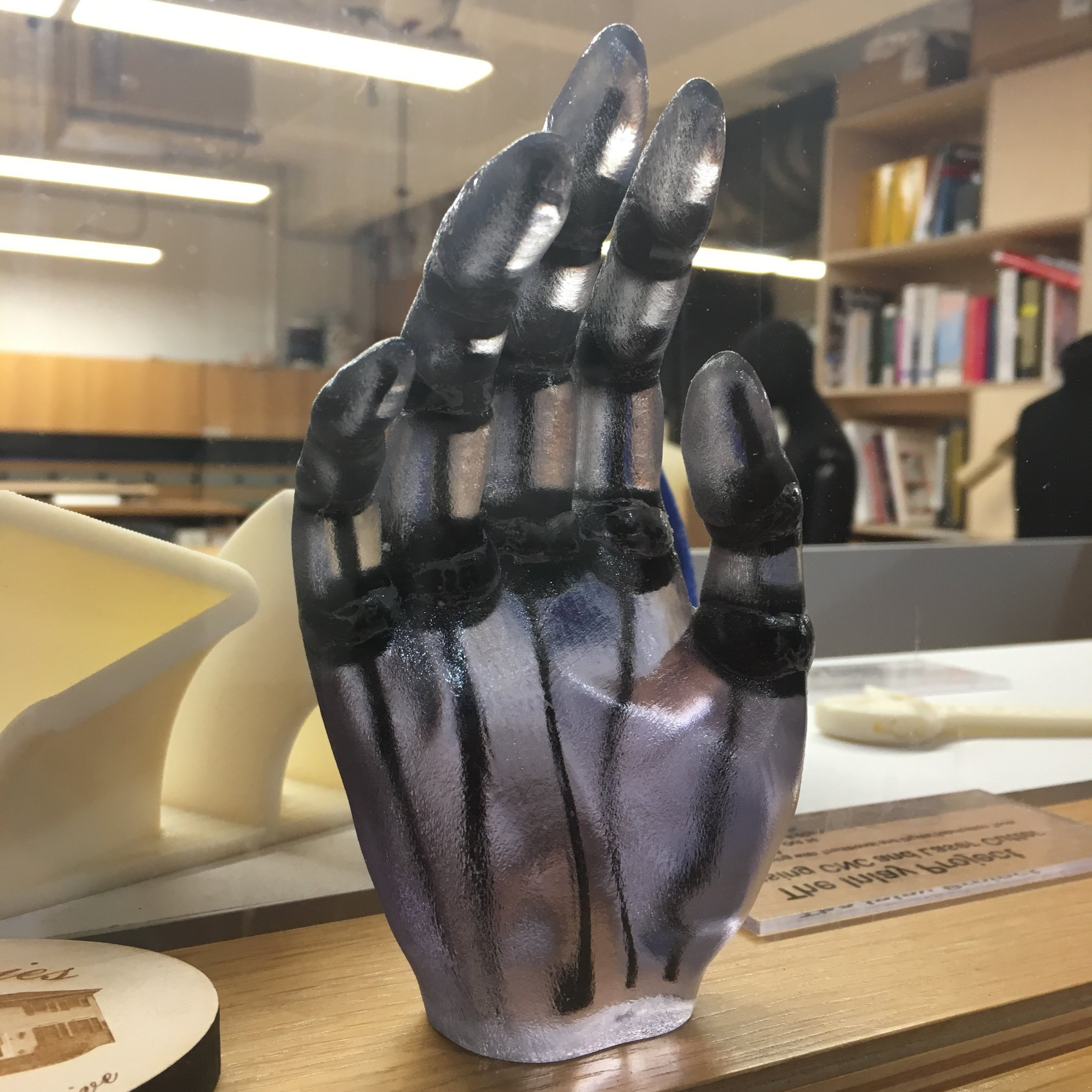 Hand print with articulated joints.