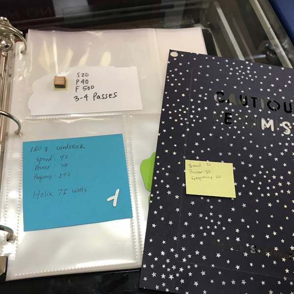 Didn't find the settings you need for the laser? Check the binder to find MORE LASER MATERIAL SETTINGS . This binder is an eclectic collection of materials students, faculty, and VFL staffers have cut.