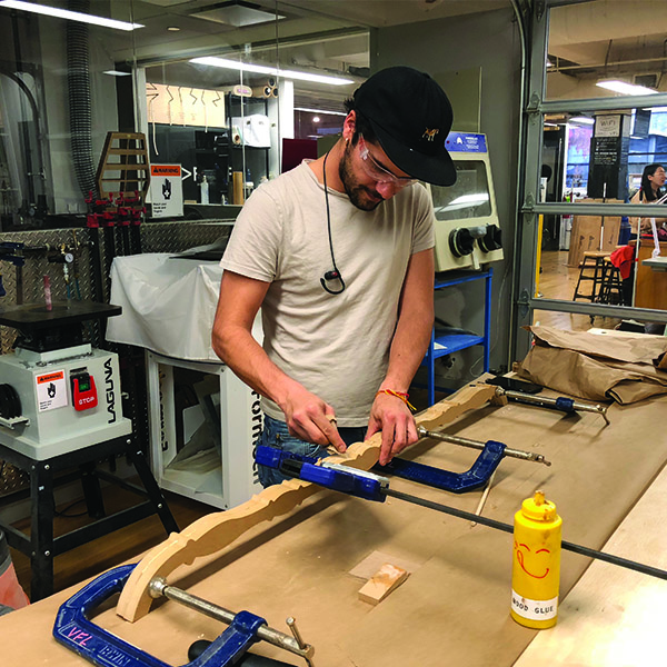 Faculty Pedro Felipe Mesa Lievano is making Latin American Window frames out of wood for the SVA booth at the upcoming Art Fair in Miami.