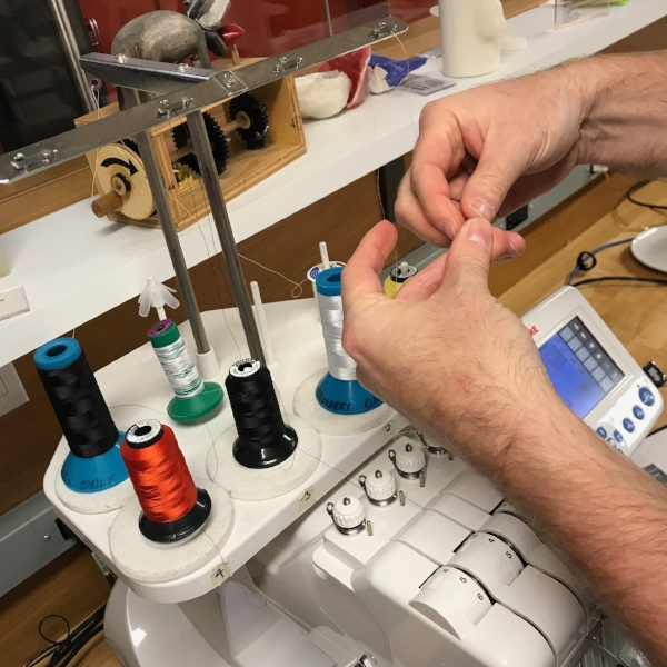 When you arrive at the VFL and you're ready to embroider your project, there is one thing we know you're hoping for: the person before you used the color you need and has already threaded the machine so you don't have to. Here's a quick trick so you can use whatever color is threaded to save yourself the hassle no matter what color it is.