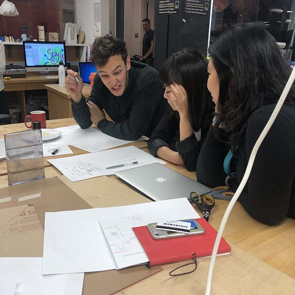 Yue Leng, Wes Rivell and Helen Chen are working on a group project for Design Research and Integration as part of their  Products of Design  MFA.