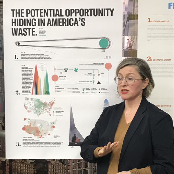 Tara used her posters to present beautiful info-graphics to educate her audience about how we as a country can re-purpose our waste. The critics are clearly mesmerized by her bright, beautiful posters