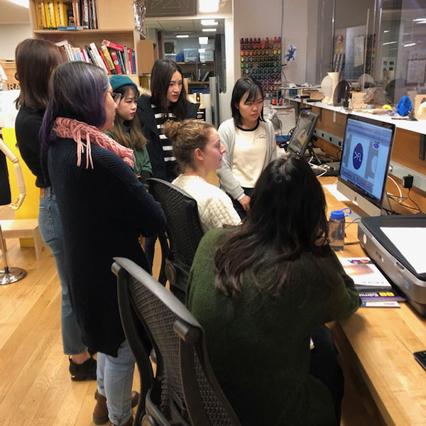 Today Elizabeth held the demo for our Janome embroidery machine. We covered file prep, stitch selection, machine set up, and maintenance.