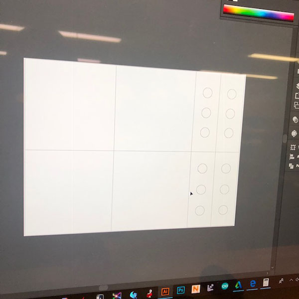 Menxia Shi is a  MFA Fine Arts  student that came in today to use the laser cutter.  She printed panels on mirrored and white opaque acrylic to create a box that will have a mirrored inside and a mirrored column within.