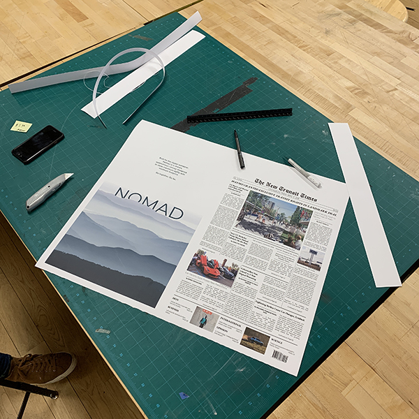 Andre Orta is an MFA student in the  Products of Design  program. Andre is using the large format printer to print a proof of a newspaper layout.