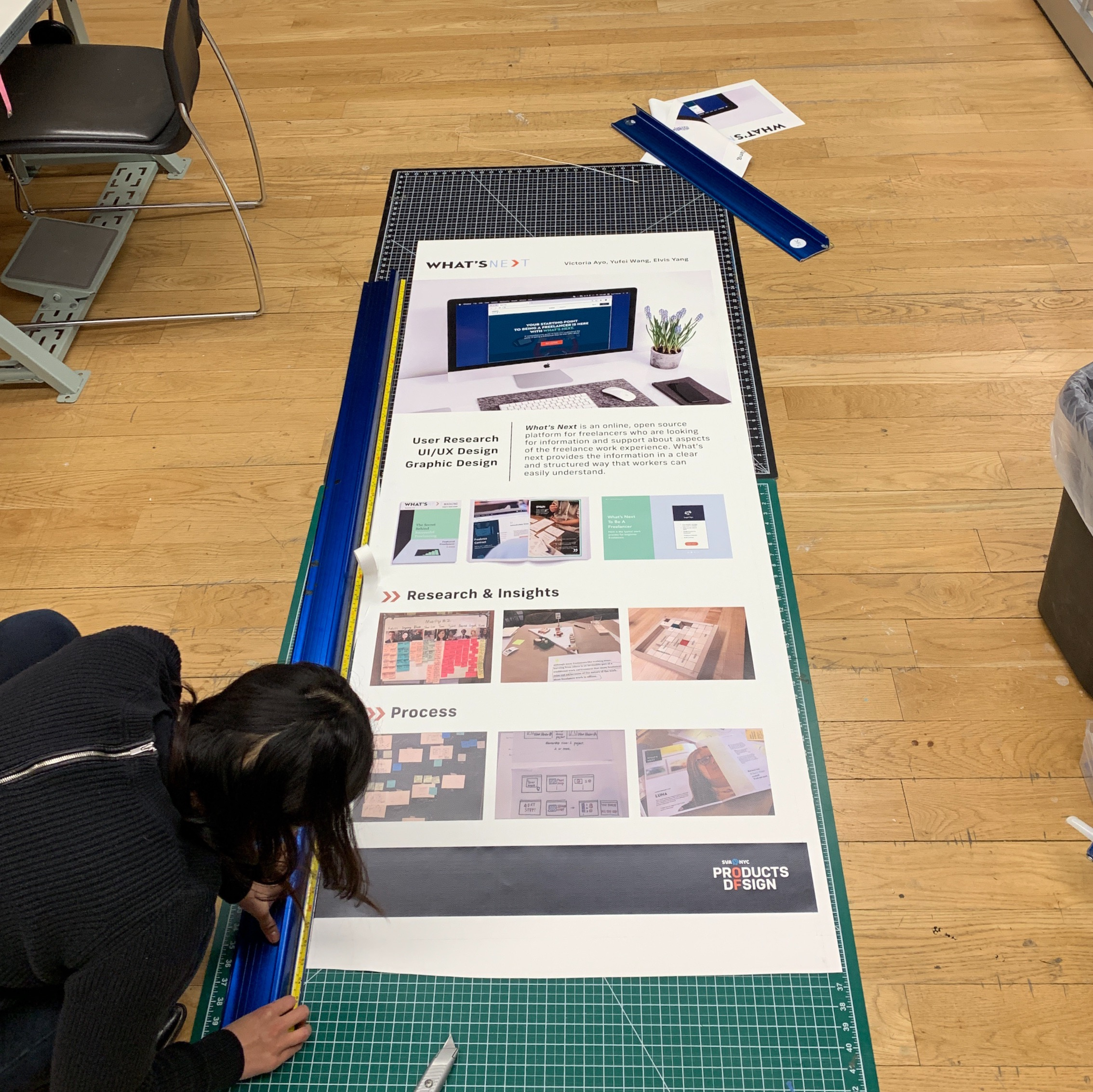 1st year  Products of Design  students are preparing banners for their annual presentation of work for review. POD students are the most active users of the VFL and many of their projects are realized here.