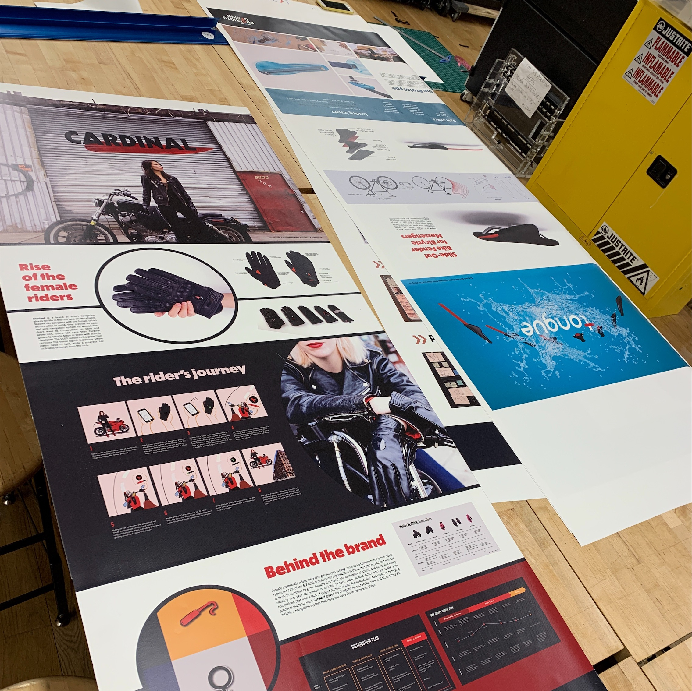 For the review, all first year students are printing large scale banners of digital projects they worked on in groups.