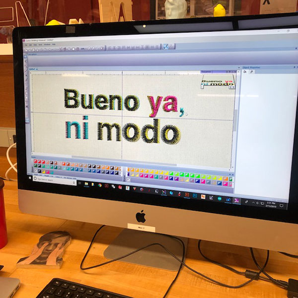 Today's feature is our wonderful embroidery machine! Olivia Mercado, a student of the  MA Design Research, Writing & Criticism , came in today to work on a personal project and try out the embroidery machine.