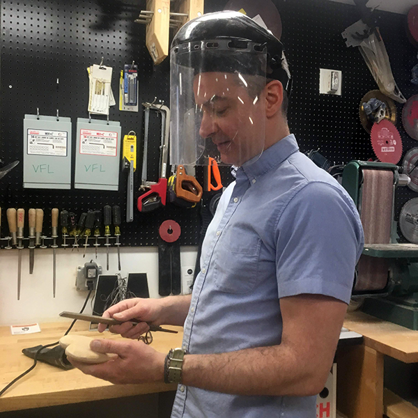 Sinclair Smith, Director of the  SVA Groundfloor Incubator , seemed like the only one feeling romantic in the VFL for Valentine's Day! He carved this lovely heart out of some reclaimed MDF using hand tools and the belt sander.