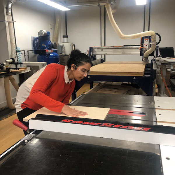 It's a quiet night in the VFL tonight, but Rhea Bhandari of  MFA Products of Design  is diligently working in the woodshop. She's working on a project for her 3D Product Design 2 classs.
