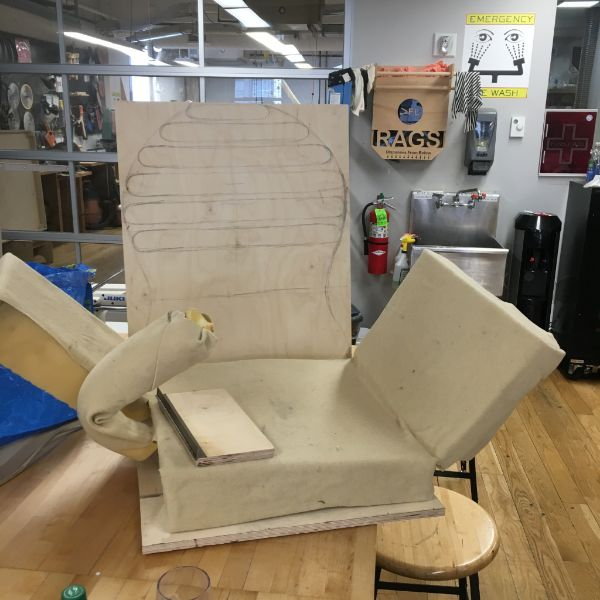 MFA  Products of Design  second year student, Rhea Bhandari was back in the shop today working on her chair for women in pain in the workplace. She is designing this artifact as part of her thesis dealing with the relationship between women and our medical system.