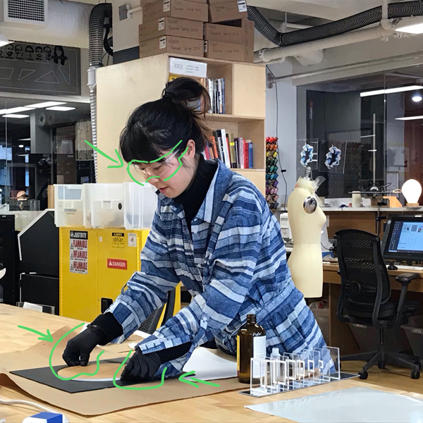 We might take risks with our art, but not with our safety! Mengxia Shi of  MFA Fine Arts  is prototyping a project where she examines scale and transparency.