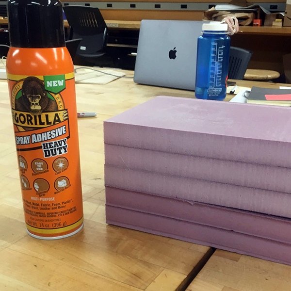 Shout out to Gorilla Glue spray adhesive for providing a great bond without eating the foam (nearly as much as other glues).