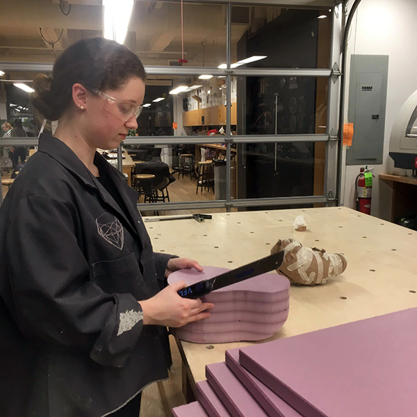 Carly Simmons is making babies!! The  MFA Product of Design  student (class of 2019) is prototyping a product as part of her thesis work on designing for new moms.