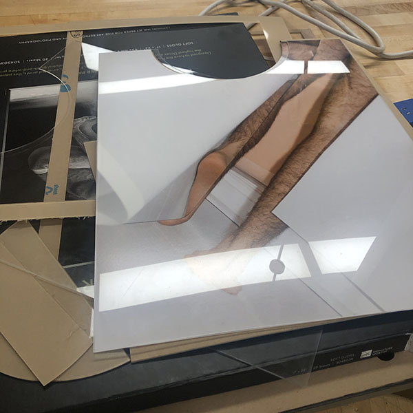 """Here is a work in progress by Paul Simon, a MFA Photo student who came by the VFL to use our laser cutter and maker space. Their work intends to deconstruct the physical body and the confines that are set on it through challenging the idea of the """"other""""."""
