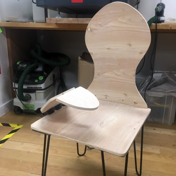 Rhea Bhandari (MFA Products of Design '19) celebrates progress on her chair for menstrual pain.