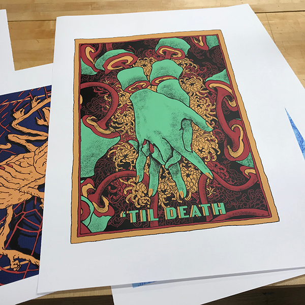 This project has gone through a long technical journey, and after experimenting with screen printing Ben is now experimenting with Vinyl prints.