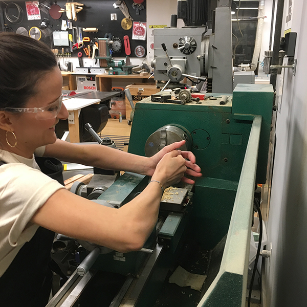 This evening, second-year  MFA Fine Arts  student Marianna Peragallo came in with a tricky request: she needed to bore holes into the center of wooden dowel to effectively create a hollow tube.