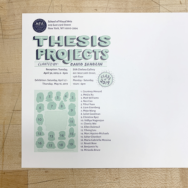 It is thesis season here at the VFL!  MFA Illustration as Visual Essay  students are in the VFL this weekend creating elements and promotional materials for their thesis show.
