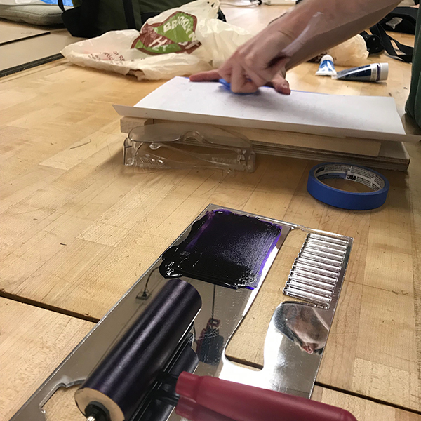 Owen from  MFA Fine Arts  was using the maker space today to do some relief prints on top of some  Risolab  prints.
