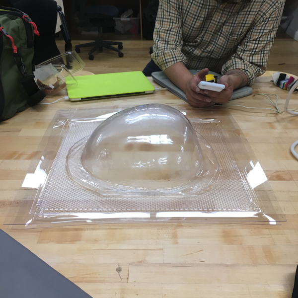 This afternoon, deputy chair of the  MFA Fine Arts  department Mark Ramos used the Visible Futures Lab's vacuum former to create shells for a digitally integrated artwork to be displayed at SVA MFA Fine Arts' residency on Governor's Island -- opening next week!