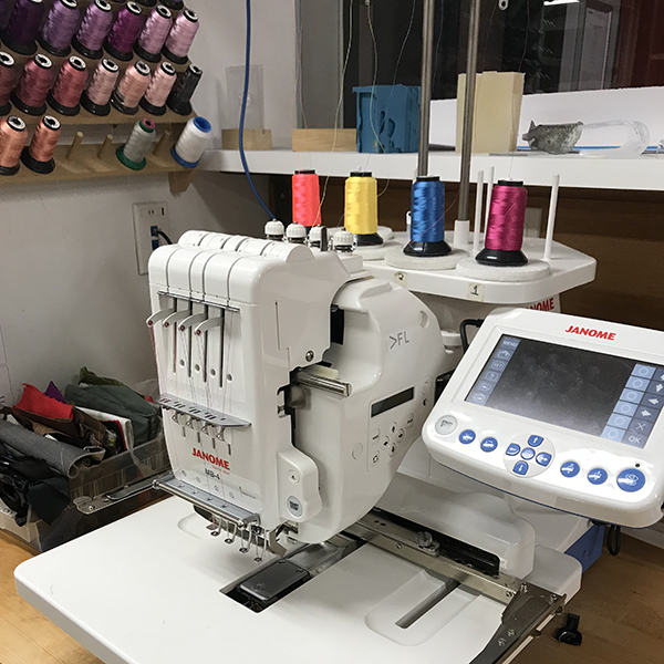 The Janome digital embroidery machine at the VFL can be used for a wide variety of projects such as customized clothing, textiles, and can even reproduce photography with the photo stitch feature.