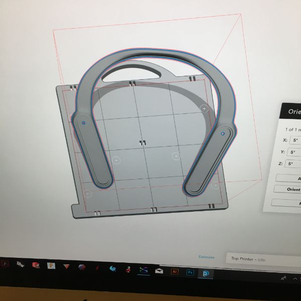 They modeled it in Fusion 360 and now Chester is helping prepare the file to be printed most efficiently on one of the Lab's  Dimensions uPrint  3d printers.