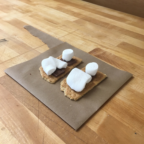 Today is the last day of classes, and, to celebrate, graduating  MFA Visual Narrative  student and Visible Futures Lab student worker ST Schwartz gifted all-in-one s'mores kits -- which of course are best prepared using a heat gun!
