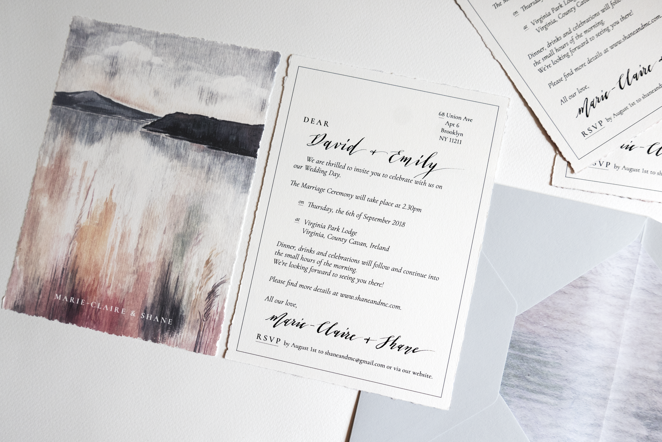 Hand-torn, cotton paper - Gouache abstract landscape - Personalized calligraphy in letter layout - Custom printed envelope liners