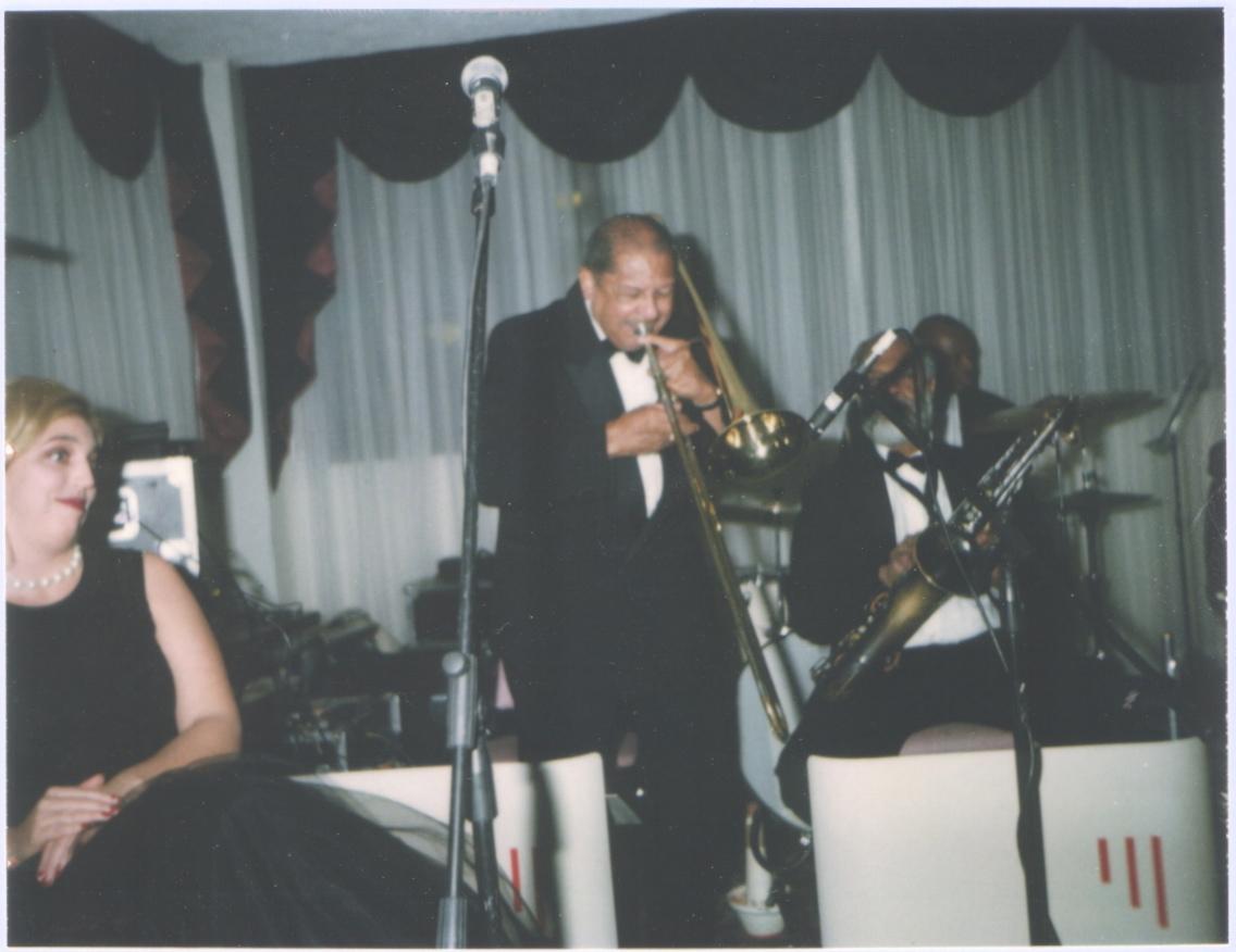 On the gig with Britt Woodman.Darby Dizard and Sayyd Abdul Al Khabyyr listen.