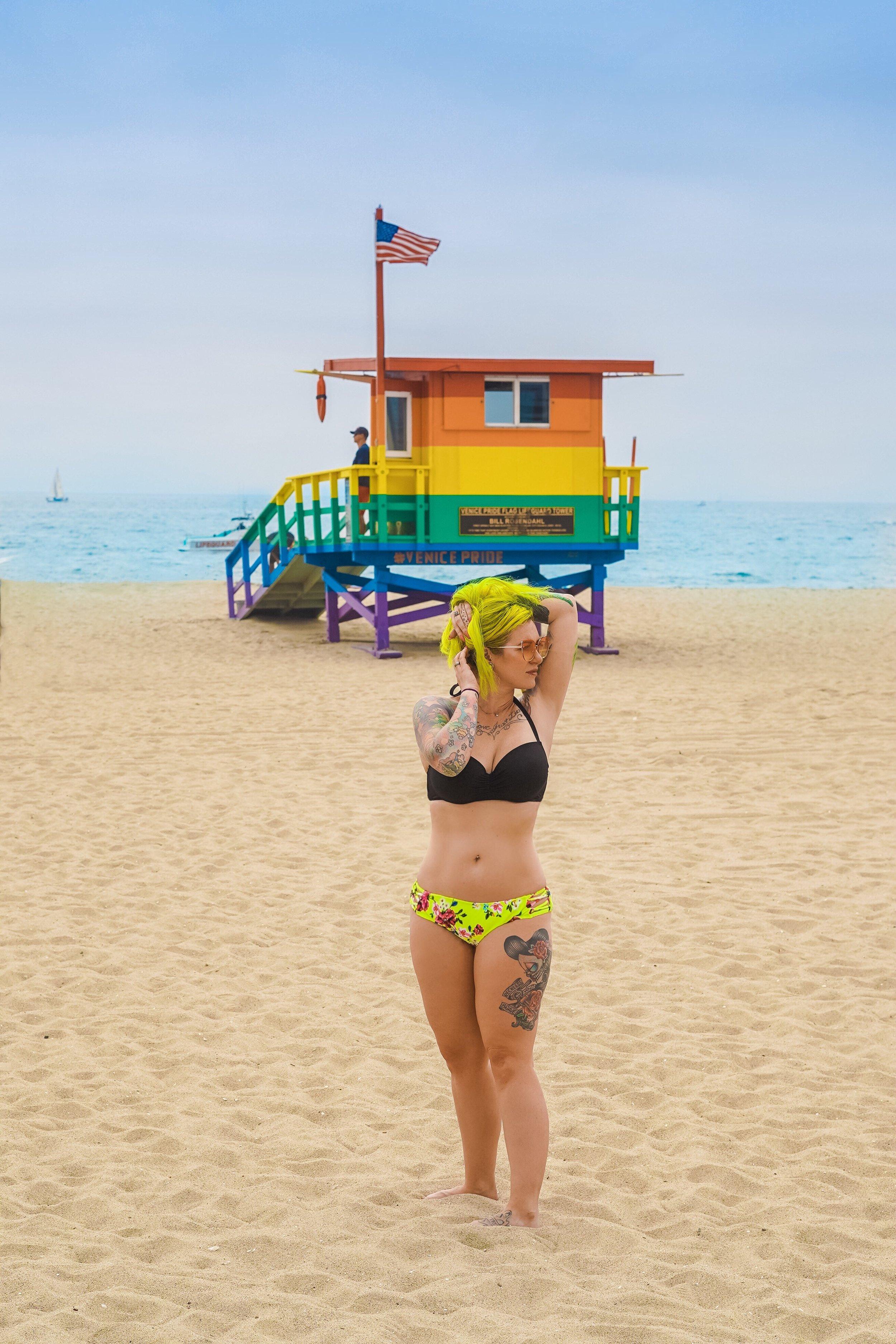 Rainbow lifeguard tower-Venice Beach California-The Chaos Collective